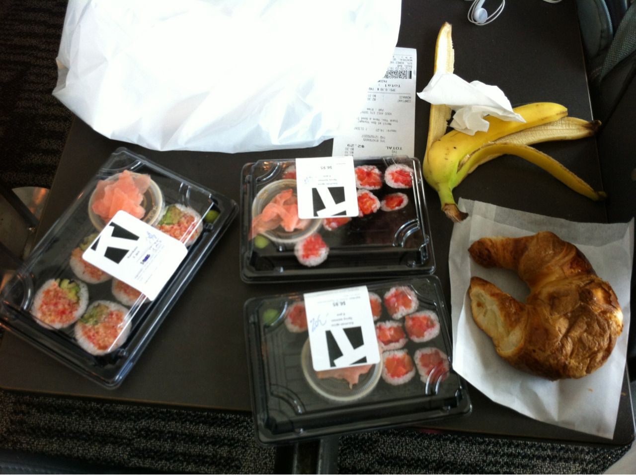ordered and ate all of this discounted day-old airport sushi