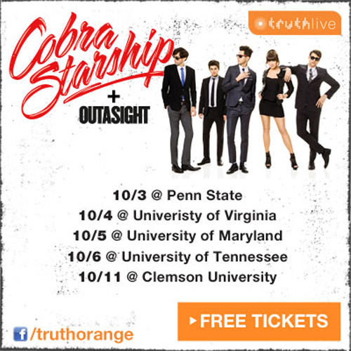 Click HERE to sign up to promote at the Cobra Starship college tour dates! Free tickets are available HERE.