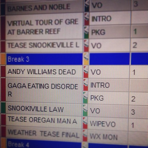 Running a Lady Gaga package in the 7PM newscast.  (Taken with Instagram)