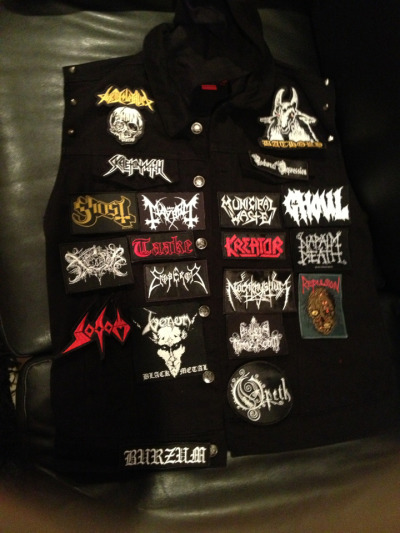 metalchick18:  kittysatan:  I'm a beast a sewing patches @ikillseriously <3  Where the fuck did you get that black vest? Iv been thinking about making my own battle jacket since my friend Shene made one!