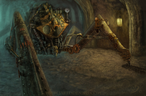 Spectacular steampunk illustration!!!!  doctormonocle:  Steam Punk Spider Miner by Jared Dennis