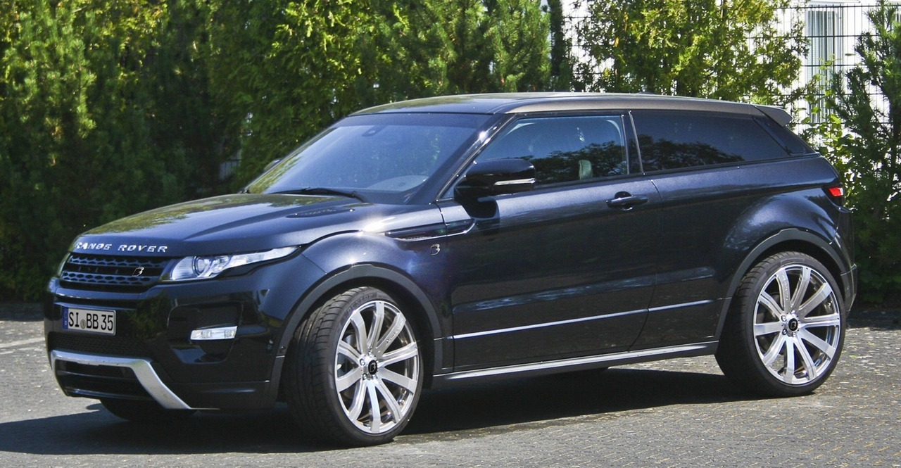 B&B 2013 Land Rover Range Rover Evoque  B&B Automobiltechnik is a German tuning brand that specializes on VW Group, BMW Group and Mercedes-Benz products, but now it wants to become known for its Land Rover projects as well, beginning with theRange Rover Evoque. The base 2.2-liter turbo diesel in the ED4 (2WD) and TD4 (AWD) models makes 148Hp (110kW / 150PS) and 380Nm, but with B&B's Stage 1 package these figures are boosted to 177Hp (132kW / 180PS) and 450Nm respectively. A Stage 2 kit bumps output to 197Hp (147kW / 200PS) and 475Nm. For the 188Hp (140kW / 190PS) 2.2-liter SD4 diesel, the Level 1 package increases output to 227Hp (169kW / 230PS) and 480Nm, and the Level 2 to 241Hp (180kW / 245PS) and maximum torque of 500Nm. Moving on to the Evoque's 2.2-liter turbocharged gasoline engine that in factory trim produces 236Hp (176kW / 240PS), the first stage kit bumps output to 268Hp (200kW / 272PS), the second to 282Hp (210kW / 286PS) and the third to 295Hp (220kW / 300PS). The latter allows for a 0-100km/h (62mph) sprint in 6.5 seconds and a top speed of 230km/h (143mph). In addition to the power packages,B&Balso offers a 30mm lowering kit, a sports exhaust system that adds another 5Hp to all engine variants, a six-piston high performance brake system and a choice of alloy wheel designs in sizes from 19- to 22-inches.   (vía Carscoop)