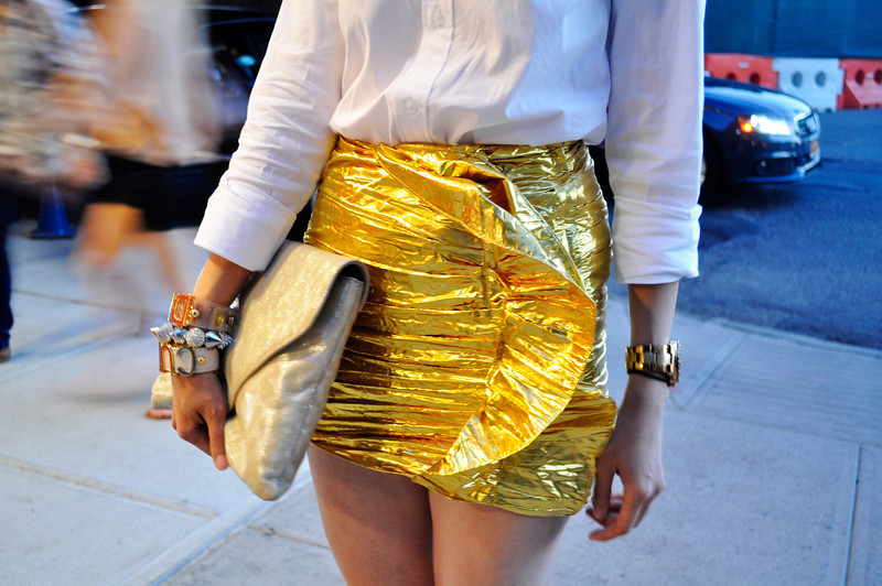 Rachel - NYFW Day 7  Ralph Lauren Shirt | H&M Golden Skirt