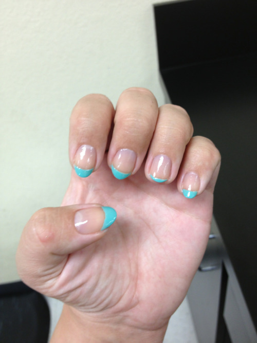 blue french manicure! ignore the tiny non-matching nail.