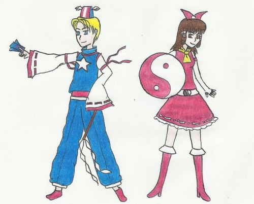 "Another crossover Touhou x Avengers :D This one is for aki-lc (hello!) So we have ""Steve the Miko"" and ""Reimu, Captain Japan"" :I Not even sorry Ying-yang orb shield I'm doing something for Miss Ada now, but I'm a little busy (I shouldn't be here I have an exam tomorrow ewe) hope you like it!!"