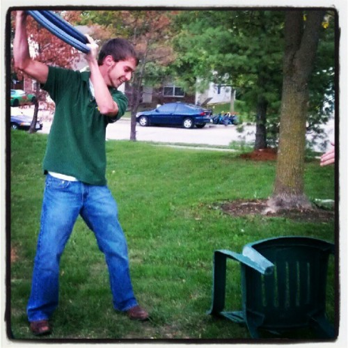 Killing off a broken lawn chair…Office Space style. (Taken with Instagram)