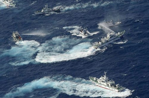 Japanese and Taiwanese ships spray water at each other while disputing ownership of small islands… Is this naval warfare now?
