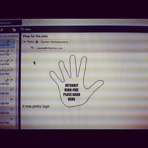 Whoohoo I got an Internet high-five #officespace #cheapthrills (Taken with Instagram)