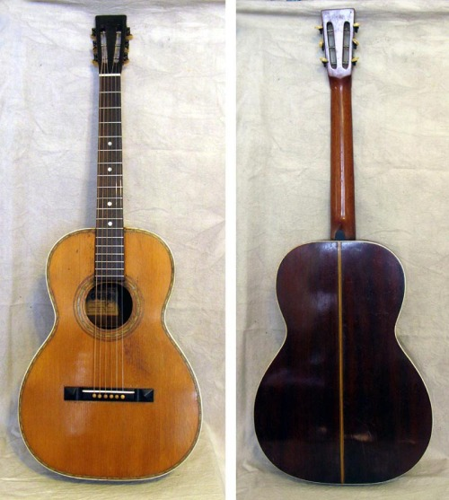 "Joseph Nettuno Grand Concert Guitar, circa 1920   This guitar was made by one of the most distinguished Italian American luthiers who built guitars in New York City during the early part of the 20th century. Nettuno guitars are quite rare and rank among the best sounding guitars of the breed commonly referred to as ""Galiano"" guitars. Original paper label inside reads: ""Joseph Nettuno, manufacturer of guitars and mandolins, New York City"". This example definitely shows its age, but has been expertly restored to excellent playing condition. The top is red spruce, sides and back are mahogany. Scale length is 26"", body is 14 3/4"" across the lower bout and nut width is 1 3/4"". There is a very old, but stable side repair, several cleated top cracks and a repaired heel. Fresh neck reset, new rosewood fingerboard and frets. Original Waverly stamped tuning machines. Stella Guitars & Other Oscar Schmidt Instruments"