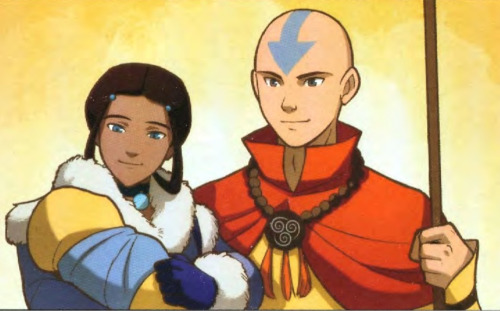 purpleneenee:  amiraelizabeth:  Katara and Aang from a panel in The Promise Part 3  sweet jesus