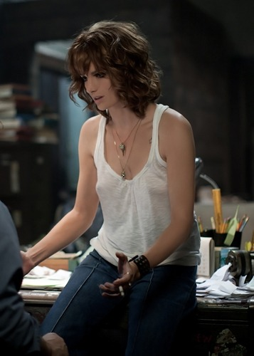 Stana Katic 'CBGB' Did someone notice, she is without bra?!