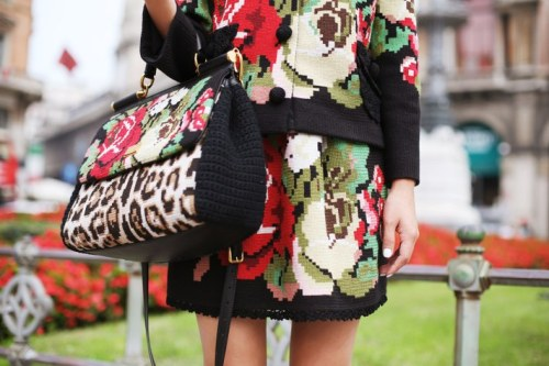 Docle&Gabbana bag, top, and skirt [source: gary pepper]