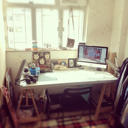 Got my #hongkong studio space set up and ready for work!… #art #illustration #design (Taken with Instagram at Studio Mass)
