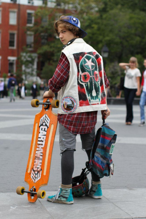 "humansofnewyork:  I was going to articulate why I like this kid's style, but I think I'll just simplify things and say he looks cool as shit. He was in the middle of a scavenger hunt, and had just earned 5 points for ""posing with a woman over 6 feet tall."""