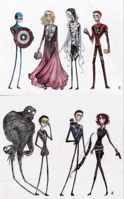 transformingsoundz:  If Tim Burton did artwork for the Avengers… It would look something like this!