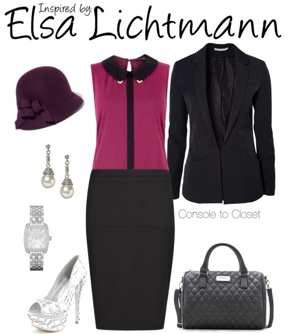 Elsa Lichtmann (L.A. Noire) by ladysnip3r featuring michael kors watches This outfit is inspired by Elsa Lichtmann of L.A. Noire. I wanted to do something glamorous and retro, but with a modern twist. I chose a retro silhouette, but selected very modern and simple clothing. I found a gorgeous pencil skirt, paired with a wine top and black blazer. I really wanted to accentuate the metal tips on the shirt collar, so I chose accessories that complimented it. I also chose a darker plum colored hat to tie in the retro look. (Reference Image) ONLY blazer, $79 / Mango pencil skirt / Platform shoes / Mango quilted bag / Banana Republic / Michael Kors  watch / Cloche hat