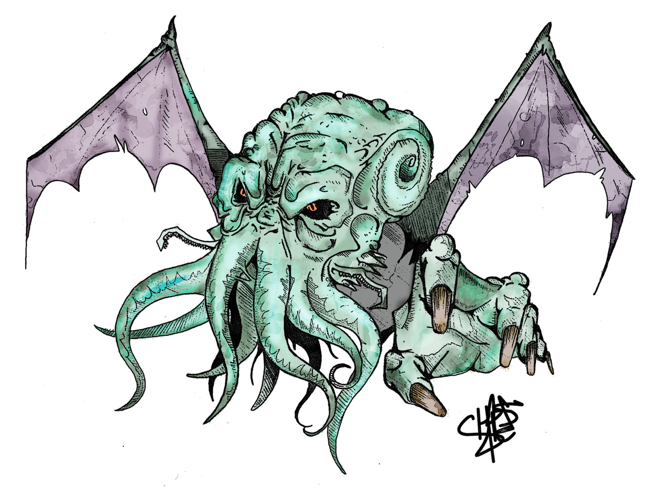 doshtopolis:  Drawing of Cthulhu I did for a friend of mine
