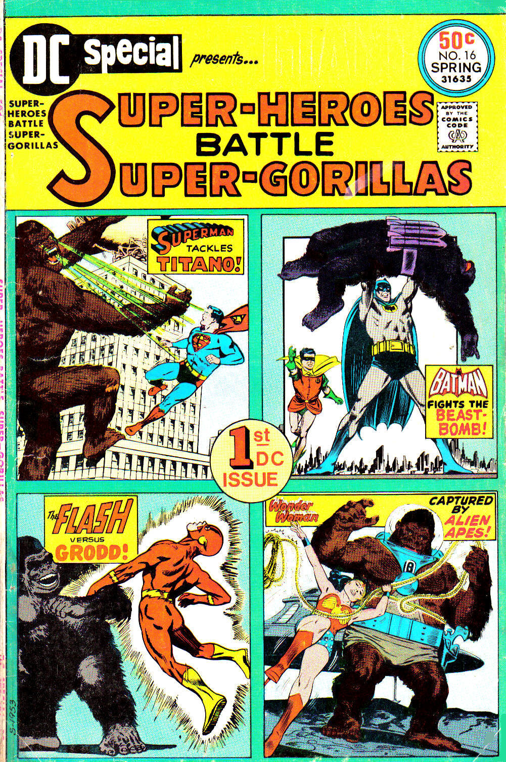 comicbookcovers:  DC Special #16, Super-Heroes Battle Super-Gorillas, Spring 1975, cover by Curt Swan, Carmine Infantino, and Ross Andru.