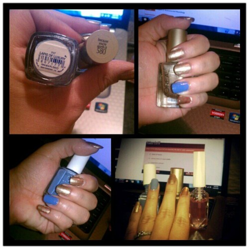 I am totally not studying anymore :/ #NailPolish #nails #Essie #Loreal #Blue #Gold #Manicure #Procrastinating #Distracted (Taken with Instagram)