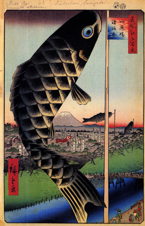 drawpaintprint:  Ando Hiroshige: Suido Bridge and Suruga Hil (1856-1858) from 100 Views of Edo, woodblock print