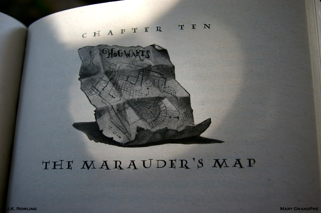 The Marauder's Map. The Art of Mary GrandPré: Harry Potter and the Prisoner of Azkaban: Chapter Ten: By J.K. Rowling: 1999. Comic-Con. San Diego. 2012. 5th Avenue: Dining Al Fresco at the Burger Lounge.