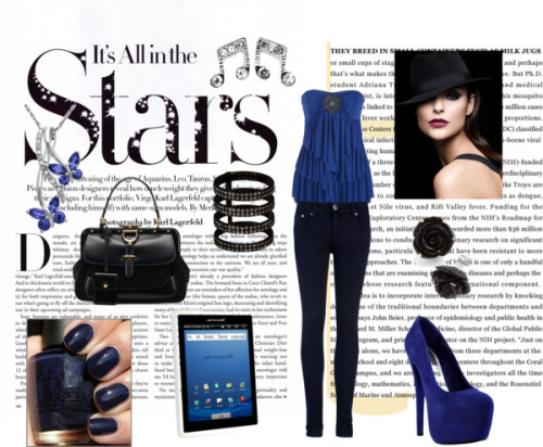 "stars by mochawolf featuring a black diamond ringStrapless shirt / Ted Baker super skinny jeans, $130 / Wild Pair platform heels / Gucci  handbag / Repossi black diamond ring / LORD & TAYLOR white gold necklace / Clear crystal earrings / Plastic jewelry / Pandigital R7T40WWHF1 Novel with WiFi 7.0"" Touchscreen Tablet PC…"