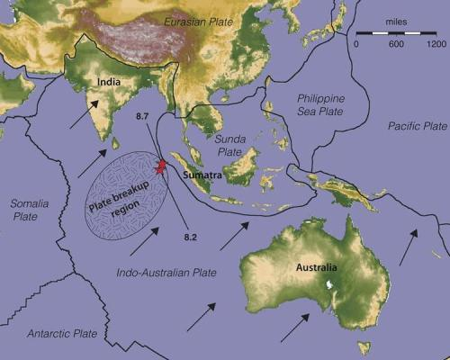 Indian Ocean Quakes Part of Slo-Mo Seafloor Breakup  unprecedented huge earthquake has broken major seafloor into two parts.