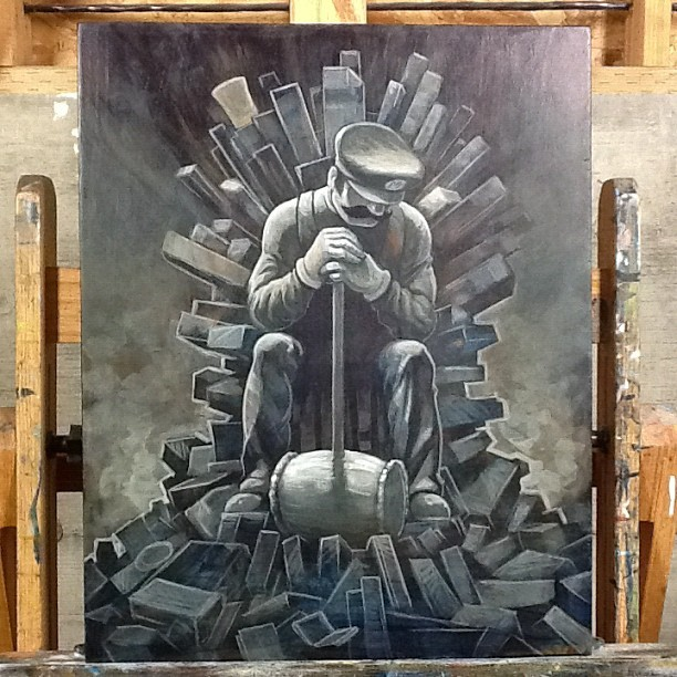 "Underpainting for ""Throne of Games"" #videogame #mario #art #painting #gallery1988  (Taken with Instagram)"
