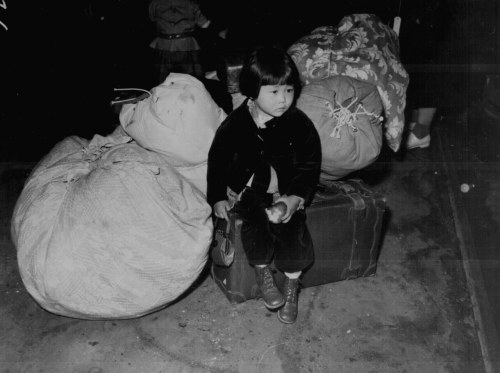 A child waiting for internment, c. 1942