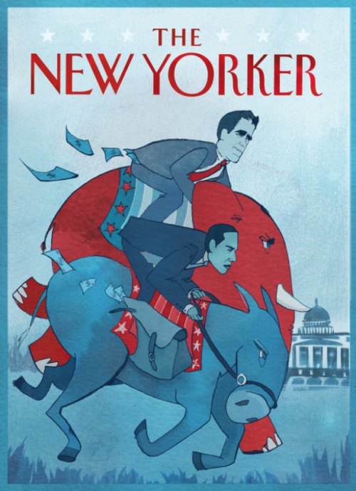 New Yorker cover for my workshop class. ink and photoshop