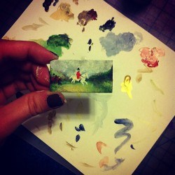 Painting a tiny painting (Taken with Instagram)