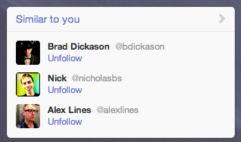 Uhh… Twitter.  You're telling me to unfollow three of my favorite people…
