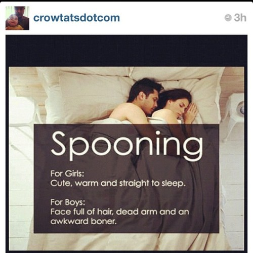 sexinterrupted:  ninamercedez:  Spooning… (Taken with Instagram)  So true.  @janedoe_sex