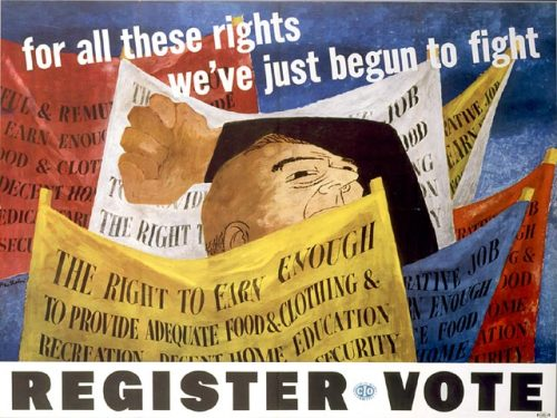 fyeaheasterneurope:  Poster for Congress of Industrial Rights, painted by Lithuanian-American artist Ben Shahn in 1946.
