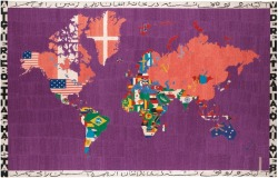 Boetti at auction: this very unusual purple Map from 1984 will be offered by Sotheby's in London, est 800,000-1,000,000 GBP @Sothebys