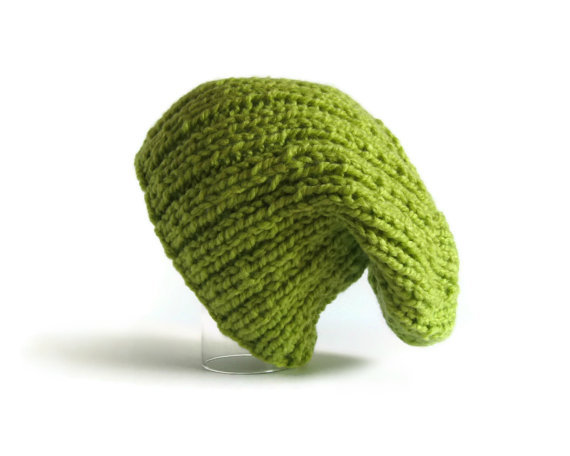 esetsygal:  branda (via Slouchy Hat Beanie Knit in Chartreuse Green Acrylic Wool by branda)