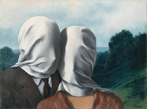 thethunderpussy:  René Magritte In 1912, Régina Bertinchamp, Magritte's mother, committed suicide by drowning herself in the Sambre River. The night of her suicide, the Magrittes followed Bertinchamp's footprints to the river, where they found her dead with her nightgown wrapped around her face. Some critics point out that several of the subjects in Magritte's paintings are veiled in white sheets as a reference to his mother's suicide.