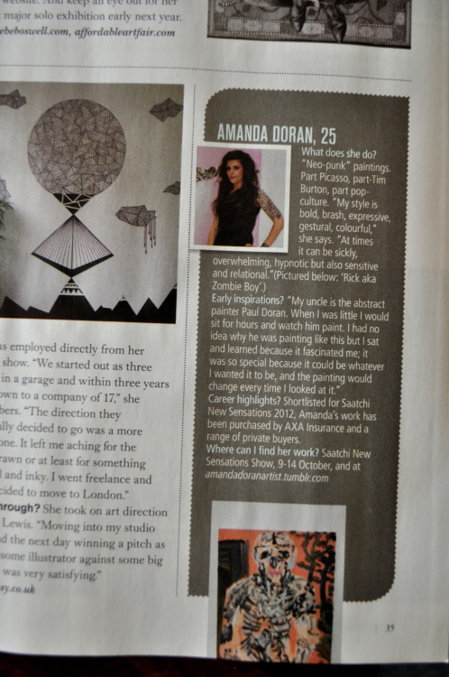 "Me mentioned in this months aMUSE magazine's article ""State of The Art""- an article about female artists 'making waves' in the art scene."
