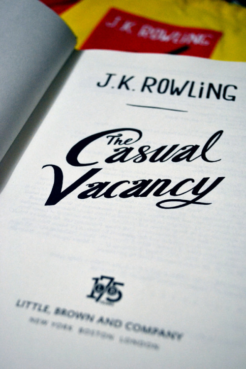 After Potter [09.27.12] Got my copy of The Casual Vacancy today. I haven't started reading yet, because I just watched The Perks of Being a Wallflower earlier and I really want to focus on writing a decent review for it before I actually get started on this. I'm not a very good multitasker, see, so I'd much prefer to save the book for the weekend. Less distractions. I hope.