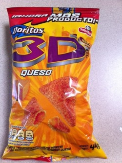 Mexico, Doritos 3Ds Cheese packaging, 2012. The return of Doritos 3Ds! In Mexico at least. And I'm sure we have James Cameron to thank for it's reemergence.