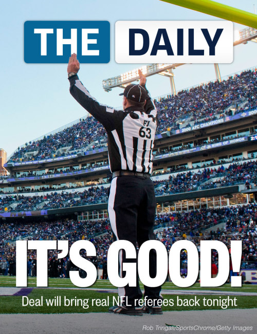 The NFL and the referees union have reached a tentative contract agreement, ending an impasse that began in June when the lague locked out the officials and used replacements instead.   The NFL said it planned to have regular refs work tonight's Cleveland-Baltimore game. With Commissioner Roger Goodell at the table, the sides concluded two days of talks late last night with the announcement of a tentative eight-year deal, which must be ratified by the union's 121 members. The vote is expected tomorrow.