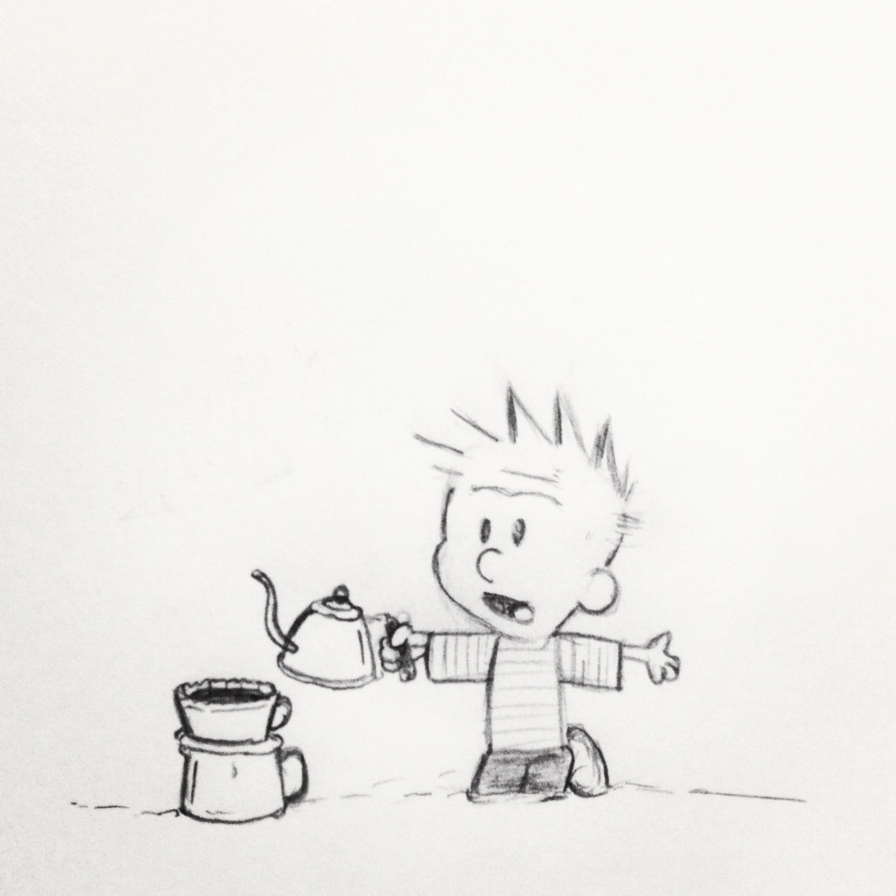 "Typically how I feel after brewing coffee. ""What'd I do wrong!?"" #calvinandhobbes"