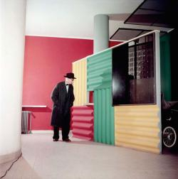 Le Corbusier Rare images of Corbu in color on display at Maison La Roche in Paris until December 15th. Originally shot for the 1954 magazine Paris Match.