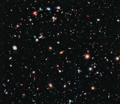 """It shows over 5500 galaxies – nearly everything you see in the picture is a galaxy, an island universe of billions of stars."" (via Revealing the Universe: the Hubble Extreme Deep Field 