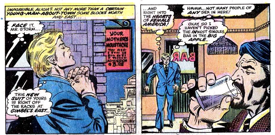 Bill Murray as the Human Torch! No, not in those above panels—but you can hear several of Murray's mid-1970s radio performances as Johnny Storm, aka the Human Torch, here: http://archive.org/details/FantasticFour-10EpisodesAnd here's a YouTube video that sets the audio of one episode to comic panels:http://www.youtube.com/watch?v=nKUp3lP2jSc Related: Here's a photo of Jim Belushi recording the voice of HOWARD THE DUCK (!) in 1980: http://seanhowe.tumblr.com/post/30104977118/jim-belushi-as-the-voice-of-howard-the-duck-1980(Above illustration: From Fantastic Four #158, May 1975. Art by Rich Buckler and Joe Sinnott; Words by Roy Thomas.)