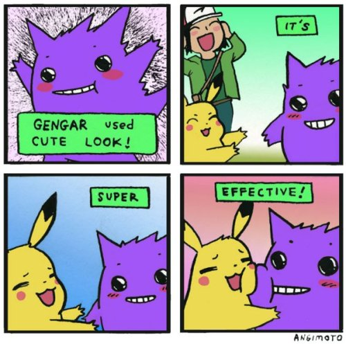 dorkly:  Gengar's Cute Look Both Pokemon fainted from overwhelming feelings of love!