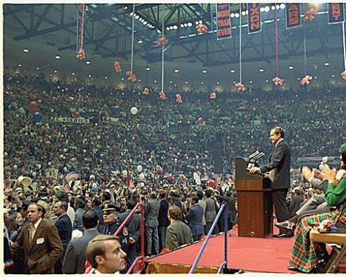 Rally, 1972 Richard Nixon speaking at a campaign event at Nassau County Coliseum in New York. 10/23/1972. -from the Nixon Library