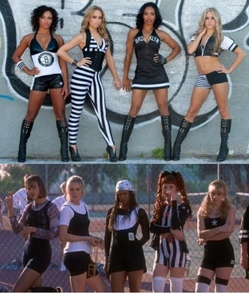 "buzzfeedrewind:  So the Brooklyn Nets cheerleader uniforms look strangely familiar…  Do you prefer the term ""fashion victim"" or ""ensembly challenged""?"