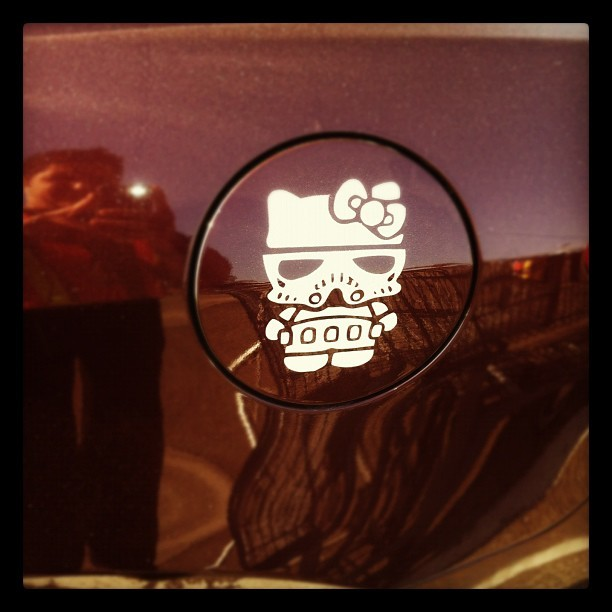 This #rad #stormtrooper #hellokitty #sticker. #car #storm #trooper #hello #kitty #sanrio #starwars #instagram #dope (Taken with Instagram at Ralphs)