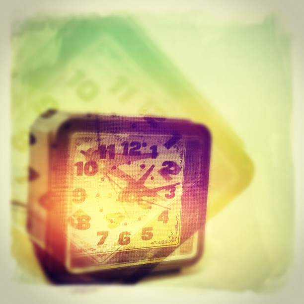 Hipstamatic shot of a retro clock. (Taken with Instagram at The College Voice Press Office)